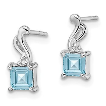 Sterling Silver Rhodium Plated Diamond & Sky Blue Topaz Square Post Earring