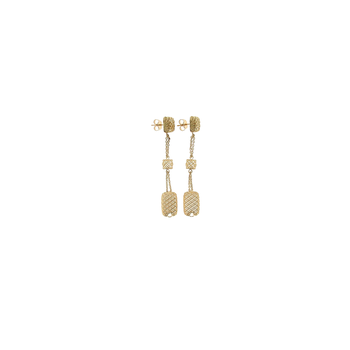 18Kt Yellow Gold Long Square Drop Earrings