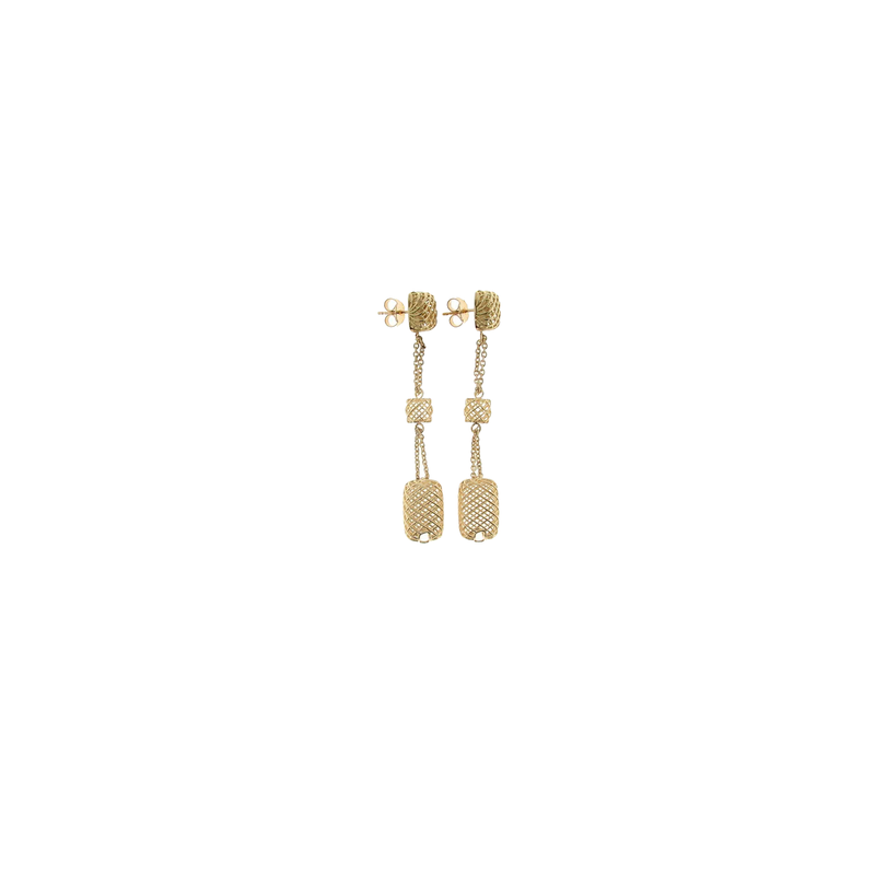 Roberto Coin 18Kt Yellow Gold Long Square Drop Earrings