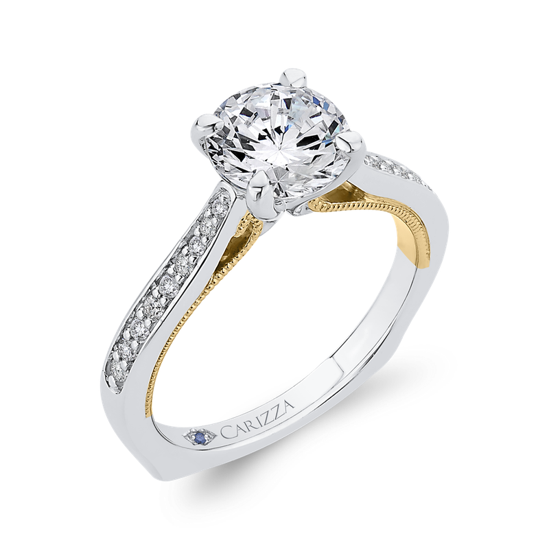 Carizza 14K Two-Tone Gold Round Cut Diamond Engagement Ring (Semi-Mount)