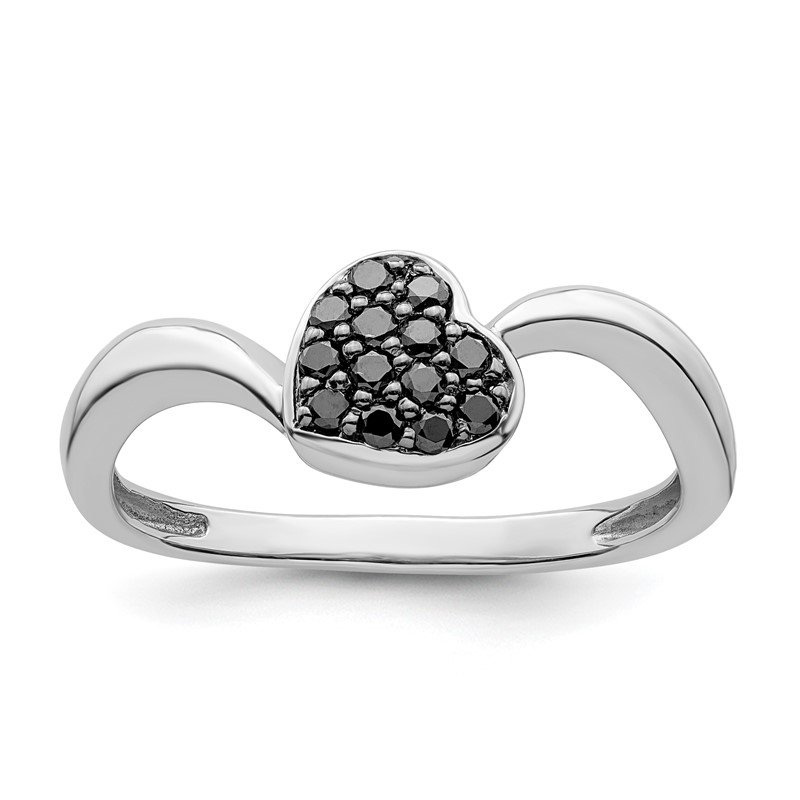 Quality Gold Sterling Silver Rhod. Plated Black Diamond Small Heart Ring