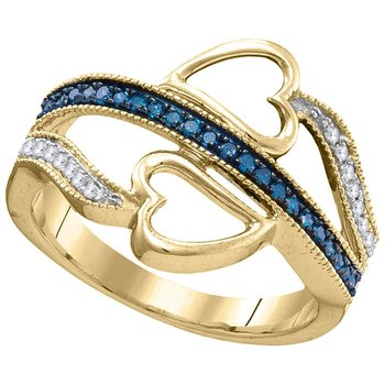 10kt Yellow Gold Womens Round Blue Color Enhanced Diamond Double Heart Love Ring 1/5 Cttw