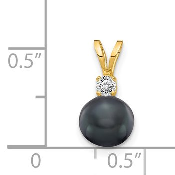14k 6mm Black FW Cultured Pearl AA Diamond Pendant