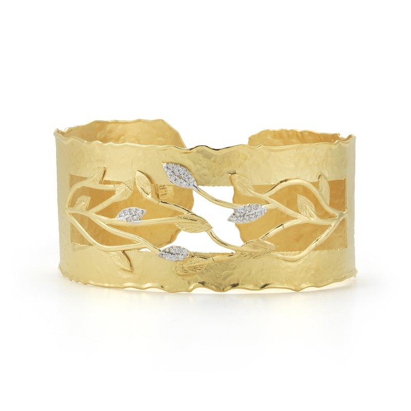 I. Reiss 14K-Y TEXTURED LEAF CUFF BR., 0.20CT