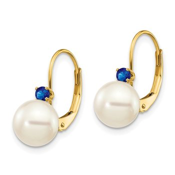 14k 7-7.5mm White Round FW Cultured Pearl Sapphire Leverback Earrings