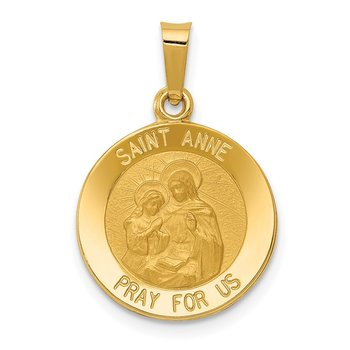14k Polished and Satin St. Anne Medal Hollow Pendant