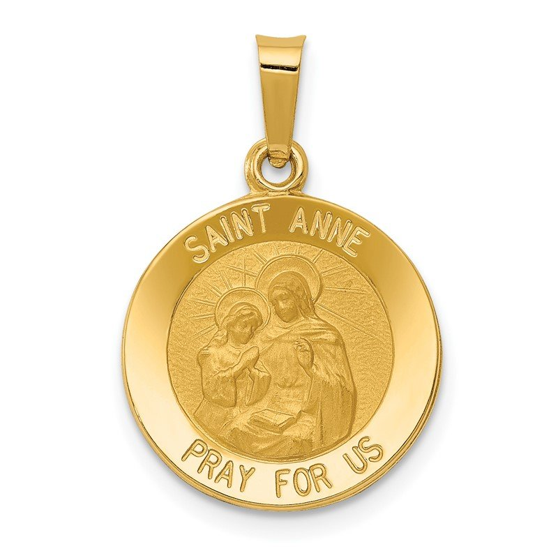 Quality Gold 14k Polished and Satin St. Anne Medal Hollow Pendant