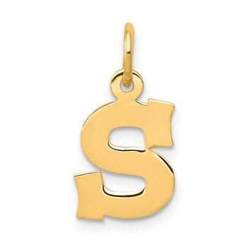 14k Small Block Letter S Initial Charm