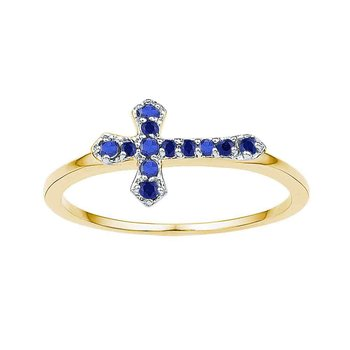 10kt Yellow Gold Womens Round Lab-Created Blue Sapphire Cross Religious Ring 1/8 Cttw
