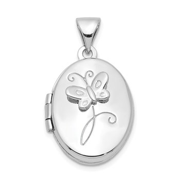 Sterling Silver Rhodium-plated 17x14mm Butterfly Oval Locket
