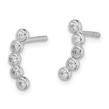 Sterling Silver Rhodium Plated CZ Post Earrings