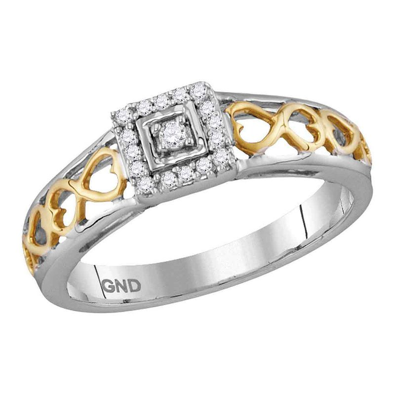 Gold-N-Diamonds 10kt Two-tone Gold Womens Round Diamond Solitaire Bridal Wedding Engagement Ring 1/10 Cttw