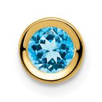Quality Gold 14k 5mm Blue Topaz bezel pendant