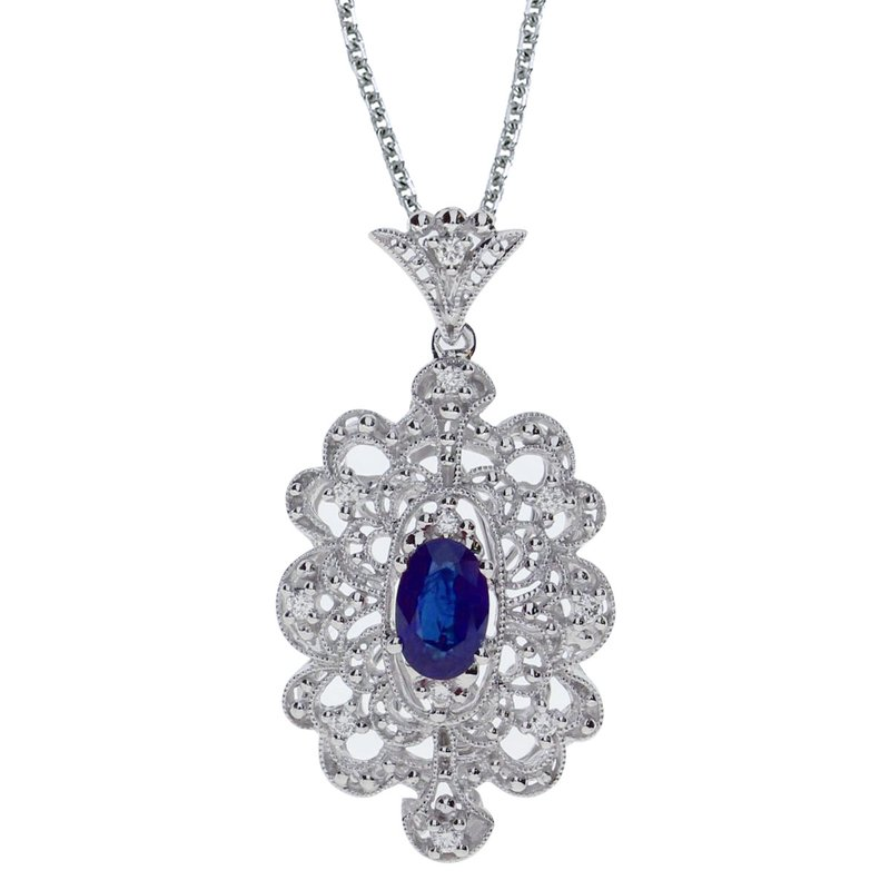 Color Merchants 14k White Gold Sapphire and .10 ct Diamond Pendant