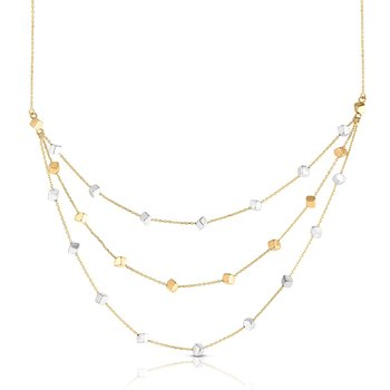 14K Gold Multi-Strand Cube Necklace