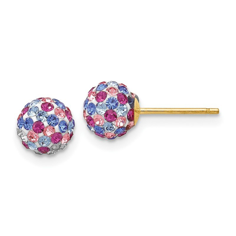 Quality Gold 14k Post 6mm Blue Pink Multi Crystal Ball Earrings