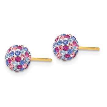 14k Post 6mm Blue Pink Multi Crystal Ball Earrings