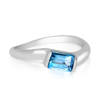 14k White Gold Twisted Stackable Blue Topaz Ring