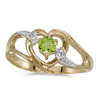 14k Yellow Gold Round Peridot And Diamond Heart Ring