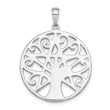 Sterling Silver Rhodium Plated Tree & Star Pendant