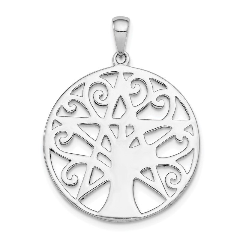 Quality Gold Sterling Silver Rhodium Plated Tree & Star Pendant