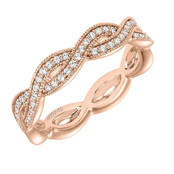 14K Rose Gold Braid Eternity Wedding Band
