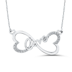 Essentials 10K White Gold 1/10 ct Round Diamond Heart Infinity LOVE Pendant with Chain