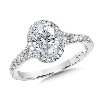 Oval-Shaped Halo Split Shank Engagement Ring