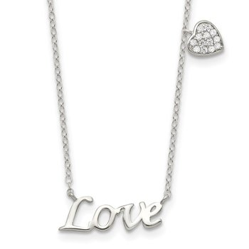 Sterling Silver Polished LOVE with CZ Heart Necklace
