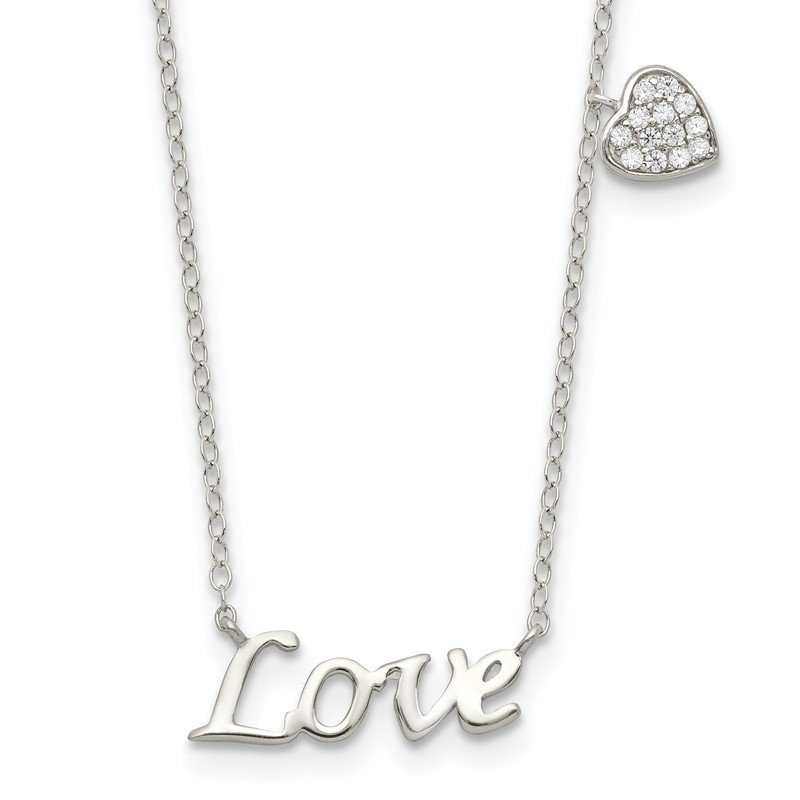 Quality Gold Sterling Silver Polished LOVE with CZ Heart Necklace