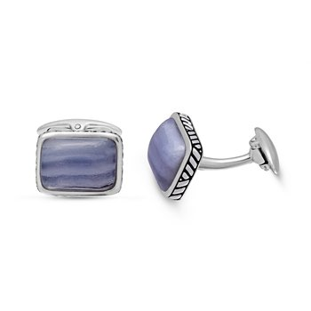 LuvMyJewelry Blue Lace Agate Stone Cufflinks in Sterling Silver & Black Rhodium