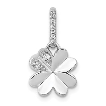 14k White Gold 1/15ct. Diamond Four Leaf Clover Pendant