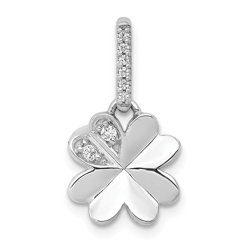 Quality Gold 14k White Gold 1/15ct. Diamond Four Leaf Clover Pendant