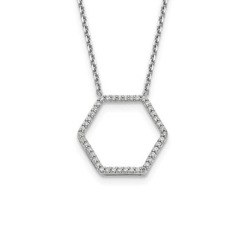 14kw True Origin Lab Grown Diamond VS/SI, D E F, Hexagon Pendant Necklace