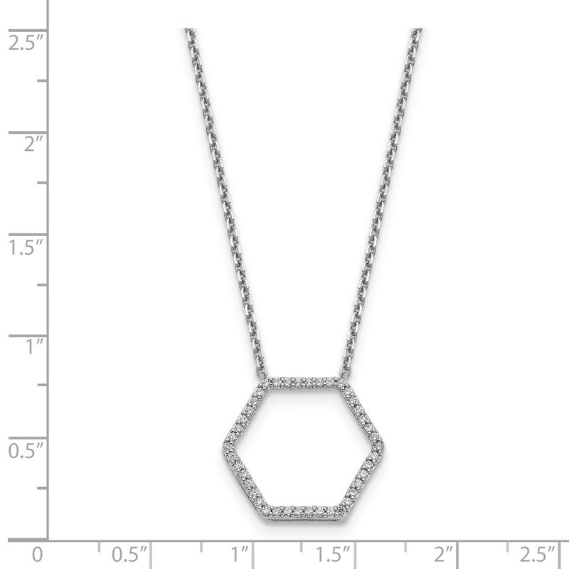 True Origin 14kw True Origin Lab Grown Diamond VS/SI, D E F, Hexagon Pendant Necklace