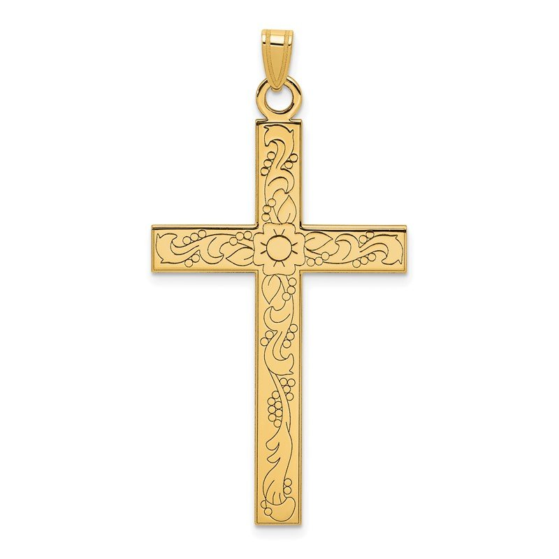Quality Gold 14k Etched Floral Design Cross Pendant