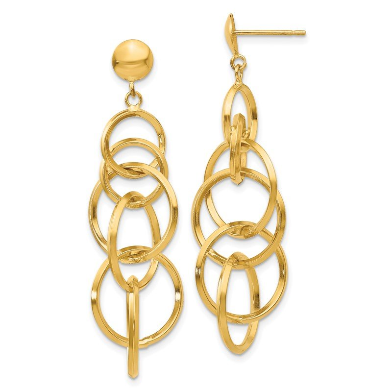 Quality Gold 14k Circle Drop Post Earrings