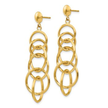 14k Circle Drop Post Earrings