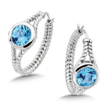 Sterling Silver Blue Topaz Essentials Hoop Earrings