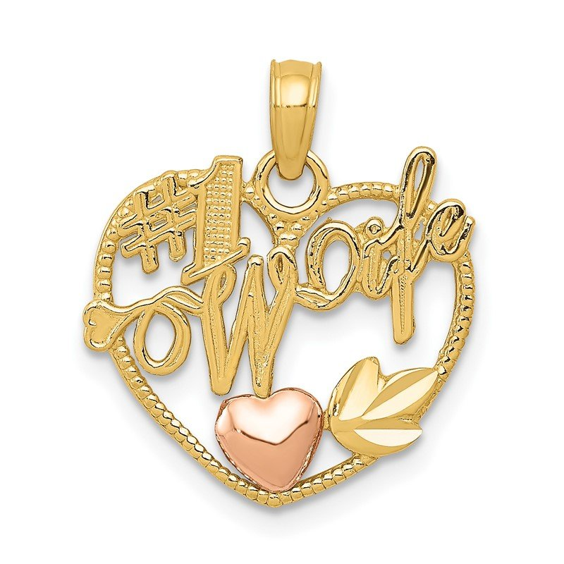 Quality Gold 14k Two-tone #1 WIFE in Heart with Heart Pendant