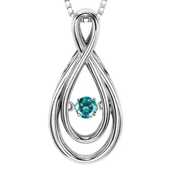14K Blue Diamond Rhythm Of Love Pendant 1/10 ctw