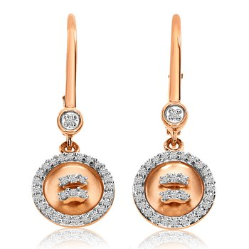 14K Rose Gold  Diamond Satin Button Lever Back Earrings