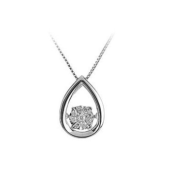 14K WG Dancing Diamond Pear Shape Pendant