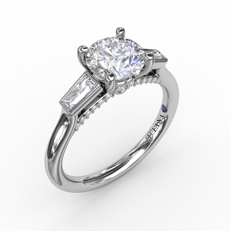 Fana Three-Stone Round Diamond Engagement Ring With Tapered Baguettes