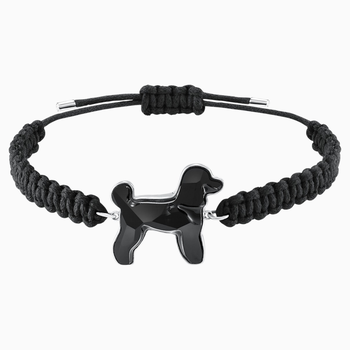 Pets Pudel Bracelet, Black, Rhodium plated