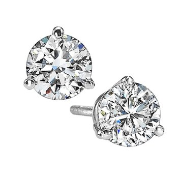 Martini Diamond Stud Earrings in 14K White Gold (2 ct. tw.) I1 - G/H
