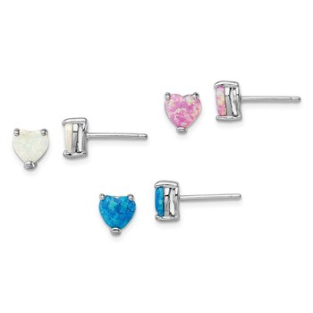 Sterling Silver Rhodium-plated Created Opal Set of 3 Heart Earrings