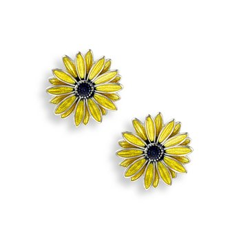 Yellow African Daisy Stud Earrings.Sterling Silver