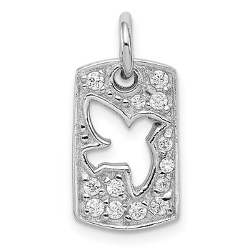 Sterling Silver Rhodium Plated Peace CZ Dove Charm