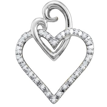 10kt White Gold Womens Round Diamond Double Joined Heart Pendant 1/12 Cttw